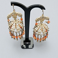 AFGHANI SILVER EARRINGS WITH CORAL